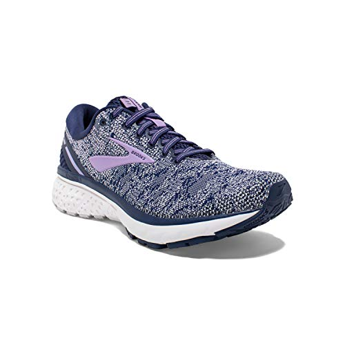Brooks Womens Ghost 11 Running Shoe - Navy/Grey/Purple Rose - B - 8.0
