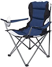 Internet's Best Padded Camping Folding Chair - Outdoor - Navy Blue - Sports - Cup Holder - Comfortable - Carry Bag - Beach - Quad