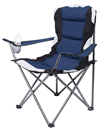 Internet's Best 2 Pack Padded Camping Folding Chair - Outdoor - Navy Blue - Sports - Cup Holder - Comfortable - Carry Bag - Beach - Quad