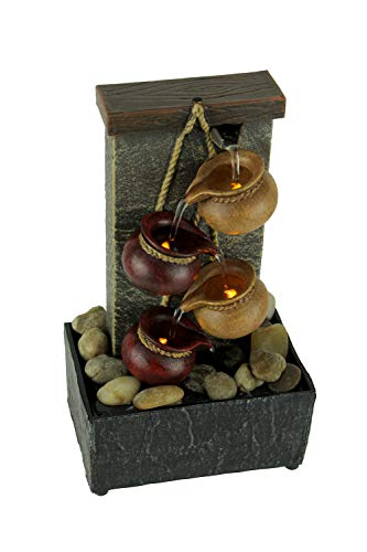 Newport Coast Collections 11' H Cascading Kettle Dual Power LED Fountain with Natural River Rocks with Adapter