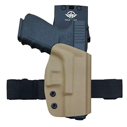 Glock 19 Holster, Kydex OWB Holster for Glock 19 19x / Glock 23 25 32 / Glock 17 22 31 / Glock 26 27 30s 45 (Gen 3 4 5) Pistol Case Waistband Outside Carry 1.5-2 Inch Belt Clip (Tan, Right Hand)
