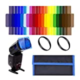 Techzere 20 Pcs Flash Speedlite Color Gels Filters for External Camera Flash