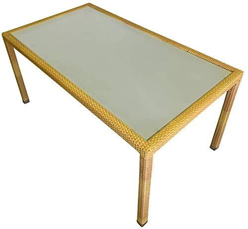 SEDEXx Focus Gartentisch 160x90 Polyrattan Balkontisch mit Glasplatte Tisch Esstisch Honig