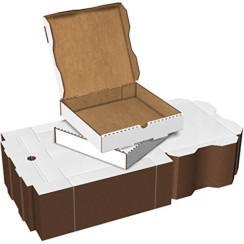 White Cardboard Pizza Boxes, Takeout Containers - 10 x 10 Pizza Box Size, Corrugated, Kraft – 50 Pack
