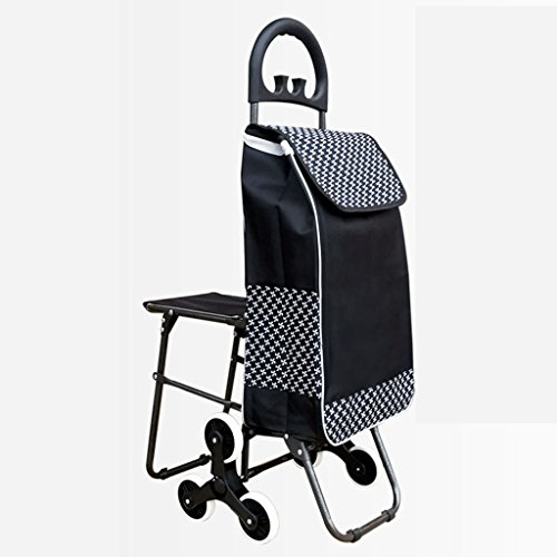 JXXDDQ Carro de Compras portátil de la Carretilla Aplacables Mayores con la Silla Que Sube Las escaleras Carro de la Compra (Color : Black)