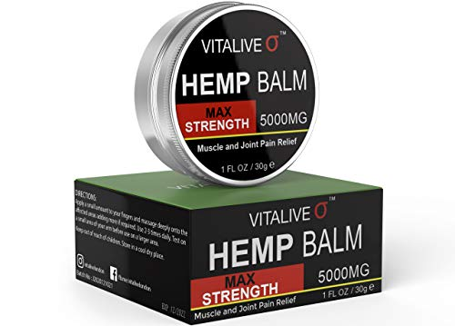 Hemp Balm Max Strength | Muscle and Joint Pain Relief | Anti-Inflammatory | Natural Extracts | 5000MG | 30g by VITALIVE