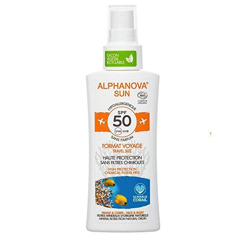 Crema Solar Para Cara y Cuerpo - Spray Protección Solar Ecológico - Cuida tu Piel y el Planeta - tamaño de viaje (SPF 50)