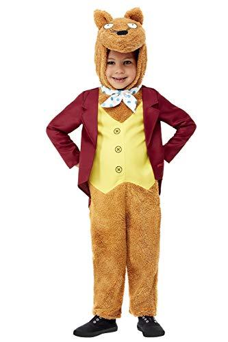 Smiffys 50890T2 Offizielles Lizenzprodukt Roald Dahl Fantastic Mr Fox Kostüm, Unisex, braun, Toddler-3-4 Years
