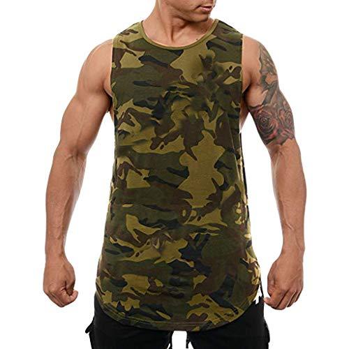 Battnot Herren Tank Top Camouflage Sport Ftiness Muscle Bodybuilding Training Gedrucket Slim Fit Ärmelloses Tasche Weste T-Shirt, Männer Sommer Pullover Pulli Hemd Bluse Mens Vest M-3XL Grau Grün Blau