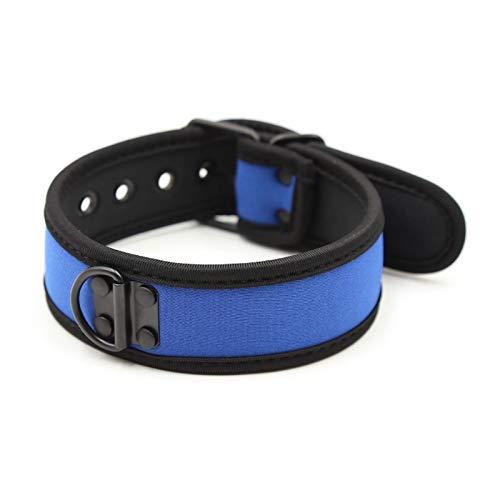 Collar de cuero de cuero punk chokers de cuello ajustable Tamaño de hebilla ajustable Set para mujeres chicas hombres cosplay fiesta (Color : Blue)