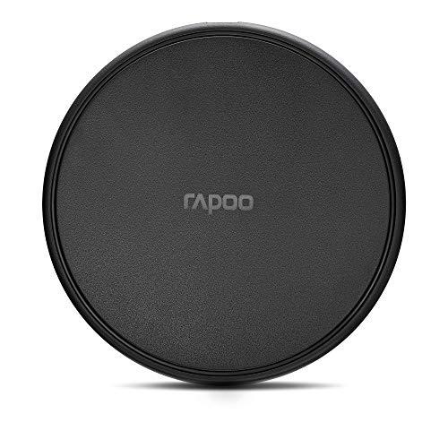 Rapoo Cargador de inducción inalámbrico XC100 para smartphone, cargador para iOS (Iphone) y Android, plano, carga Qi, carga rápida, negro