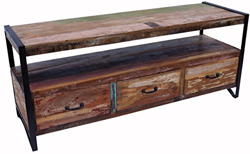 Guru-Shop Vintage TV-tafel, Dressoir in Gerecycleerd Hout - Model 1, Bruin, 60x145x45 cm, Ladekasten Dressoirs