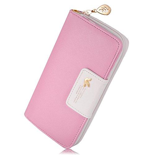 Feililong - Portafoglio da donna, con sezione porta-tessere, 2 scomparti, zip lunga, in pelle, Pink (nero) - Feililong-Wallet-001-Pink