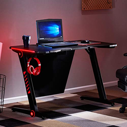 Merax 47'' Gaming Computer Desk 7 Color LED Lights Z-Shaped Ergonomic Comfortable Table for PC Gamers Home/Office Durable Racing Workstation with Large Surface, Headphone Hook