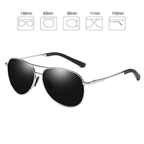 Bseack Polarisierte Sonnenbrille Fahren Sonnenbrille UV400 Schutz Sport polarisierten Sonnenbrillen for Männer Lernbare flexiblen Rahmen for Golf Angeln (Color : Silver Frame)
