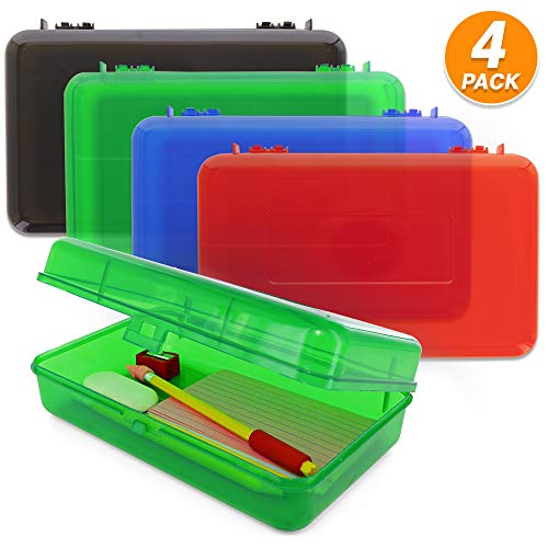 Emraw Multipurpose Utility Box Large Assorted Colors Durable Plastic Polypropylene Pencil Box with Lid Snap Closure Translucent View Storage Box for Pencils and Pens Pack of 4