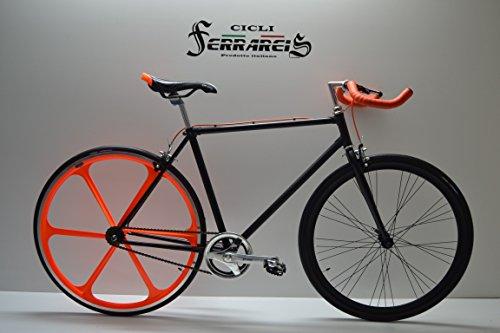 Fixed 28 Bici Single Speed Bicicletta Scatto Fisso Nero Arancio a Razze Posteriore Personalizzabile