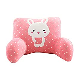 Mlotus Pink Rabbit Backrest Pillow Lounger. Cute Kids Bed Rest Pillows with Arms for Reading in Bed.
