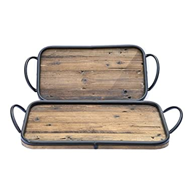 Rustic Wood Rectangular Serving Tray Set of 2