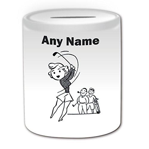 Personalisiertes Geschenk–Golf Lady Spardose (Sport und Hobby Design Thema, weiß)–alle Nachricht/Name auf Ihre einzigartige–Golfer CLUB zurück Swing