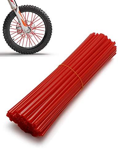 "Kemimoto Motorcycle Spoke Skins Covers 72Pcs, Universal Dirt Bike Wheel Rims Wraps Pipe Trim For 8""-21"" YZ/WR/TTR SX MX SXF EXC Spoke Rims Spoke Covers Decoration Protector (Red)"
