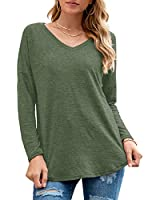 Neineiwu Womens Casual Tops Tee Comfort Loose Basic T-Shirt Long Sleeve V-Neck Cotton Blouses (Army Green XXL)