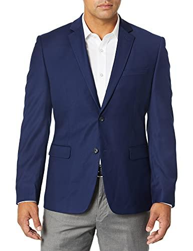 Perry Ellis Pantalón de traje slim fit para hombre, Bright Blue Solid, 42 Long
