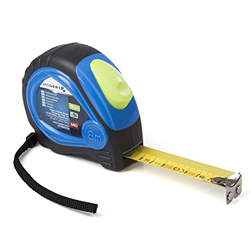 Högert Rollbandmaß Maßband Rollmaßband Bandmaß Rollmaß 8 m (Breite des Bandes: 25 mm / mit Nylonbeschichtung ) inkl. Bandbremse / Sperre
