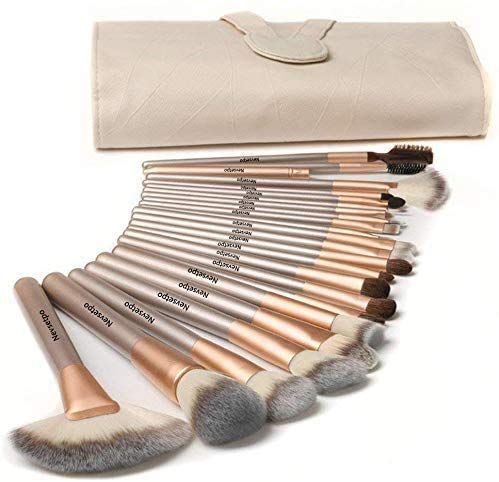 NEVSETPO Quality Makeup Brushes Premium Professional Makeup Brush Set for Kabuki Foundation Powder Blending Contour Concealers Travel PU Leather Bag Included, Cruelty-Free Wood Handle (18 Count, Champagne)