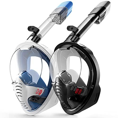 OMEW 2PCS Masque Snorkeling, Masque de Plongée, Intégral Complet Antibuée et Anti-Fuite Lunettes de Plongée, Plein Visage 180° Visible avec Le Support pour Caméra...