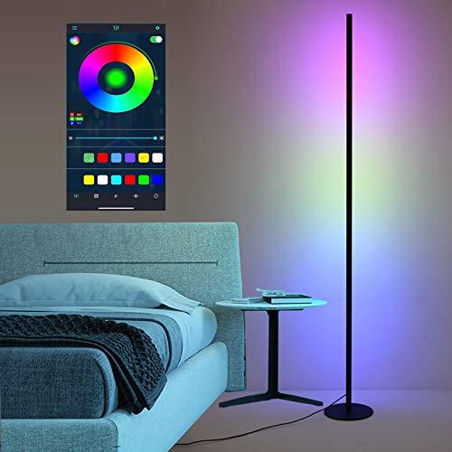 LED RGB Lámpara de Pie Colores Regulable Inteligente RGBWW Smartphone Control de APP Estilo Minimalista Moderno Multicolor Luz de Suelo Vistoso Ambienta Iluminación Decorativa Salón Dormitorio Negro