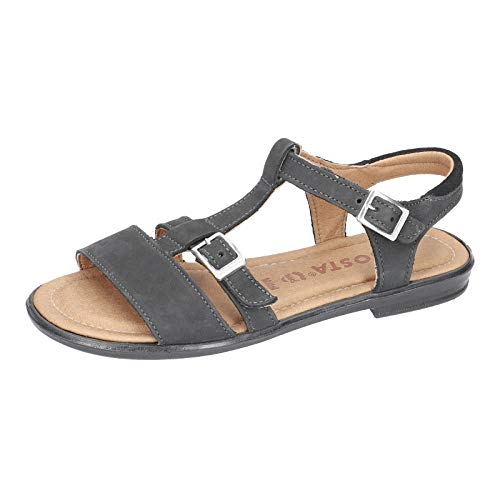 RICOSTA Mädchen Riemchensandalen KALJA, Weite: Mittel (WMS), detailreich leger römer-Sandale Sandalette Gladiatoren-Sandale,schwarz,35 EU / 2.5 UK