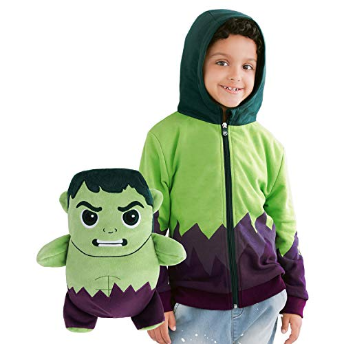 Cubcoats Hulk- 2-in-1 Transforming Hoodie and Soft Plushie- Green and Purple