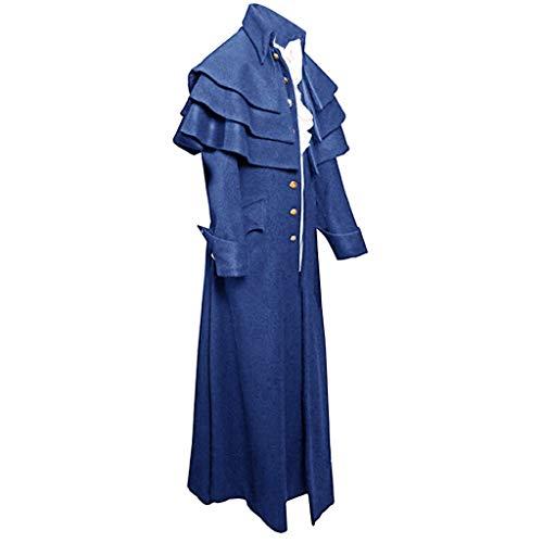 Riou Herren Gothic Mantel Steampunk Frock Vintage Lang Tailcoat für Winter Karneval Halloween Cosplay Kostüm Parka Jacke Uniform Mantel
