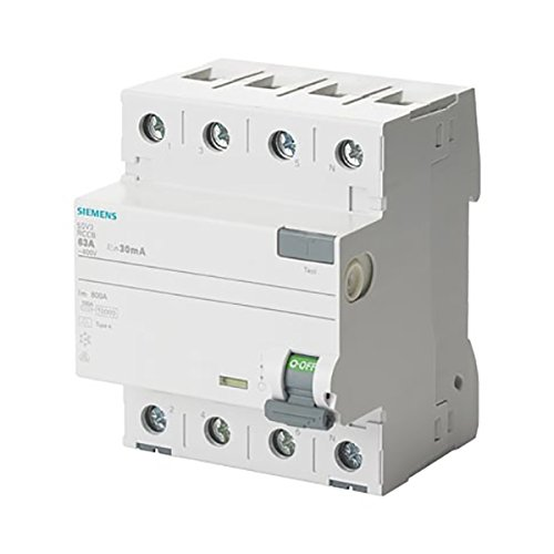 Siemens 5sv - Interruptor diferencial clase-a 4 polos 63a 30ma 70mm