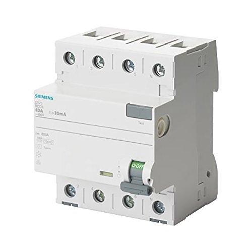 SIEMENS - 5SV33466 SENTRON FI-Schutzschalter, 4-polig, Typ A, In: 63 A, 30 mA, Un AC: 400 V