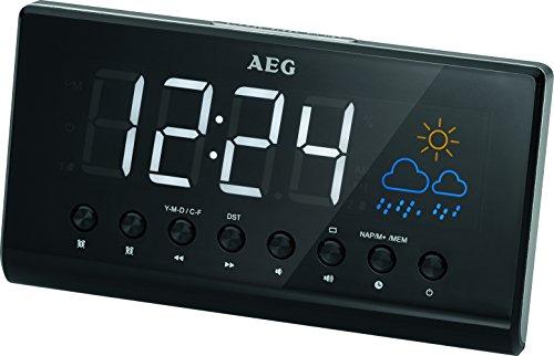 AEG MRC 4141 P Uhrenradio mit Projektion, LED-Display, 3 Stufen-Dimmer, aktuelle Wetteranzeige/-prognose durch grafische Darstellung