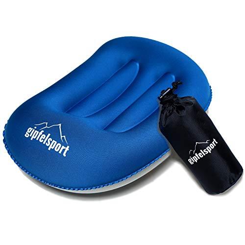 Poduszka kempingowa – poduszka podróżna I nadmuchiwana poduszka do podróży, na kemping, na wędrówki, na plażę, na wędrówkę z plecakiem I poduszka plażowa, poduszka pod głowę, poduszka do pływania, granatowy (niebieski) - 20342