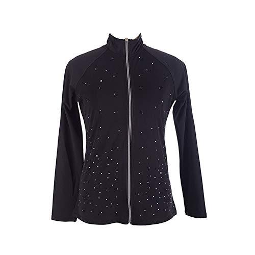 Jolie Ragazza Strass Cappotto da Pattinaggio su Ghiaccio Alta Elasticità Concorrenza Traspirante Abbigliamento da Pattinaggio Manica Lunga,XL