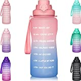 Half Gallon Water Bottle with Time Marker & Straw - 64 oz BPA Free Large Motivational Sports Water Bottle Leakproof Tritan Frosted Big Plastic Office Water Jug to Keep Women Men Drink Enough Water