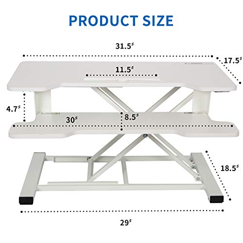Agreatca Stand up Desk Converter 32 Inches | Sit to Stand Desk Riser Computer Workstation Height Adjustable with Keyboard Tray for Laptop and Monitor, White