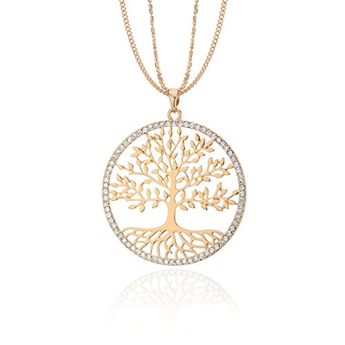 Ouran Long Chain Necklace for Women,Celtic Tree of Life Pendant Necklace Gold and Silver Necklace with CZ Crystal Shining Rhinestone Necklace (Gold Plated)