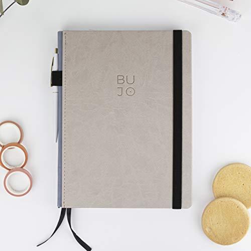 Bullet Journals L Mocca/Notizbuch, gepunktet, 19 x 25 cm, Schweizbindung, fester Einband aus Kunstleder, 188 Seiten auf Premium-Papier - Takenote Agendas (braun)