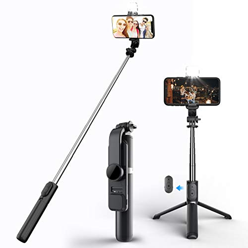Tynctway Selfie Stick Bluetooth Tripod with Beauty Lights,3 in 1 Extendable Phone Stand Holder with Detachable Wireless Remote Compatible with iPhone and Android Smart Phone(Black-Tricolor Lights)