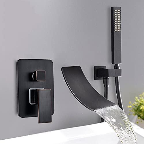 Huin Grifo de bañera Mezclador de lavabo Grifo con rociador Ducha de mano Cascada Caño Bañera Grifo de baño Mezclador de agua fría y caliente-Bronce negro