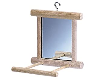Perchoir comportant un miroir pour fasciner votre oiseau. Muni d'un crochet métallique pour s'attacher facilement à la cage. Le bois est un matériel naturel agréable pour les pattes des oiseaux.