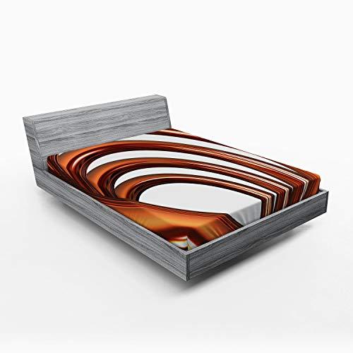 ABAKUHAUS Abstract Hoeslaken, Helix Coil Spiral Pipe, Zachte Decoratieve Stof Beddengoed, Elastische Band Rondom, 135x 190 cm, Donker oranje en wit