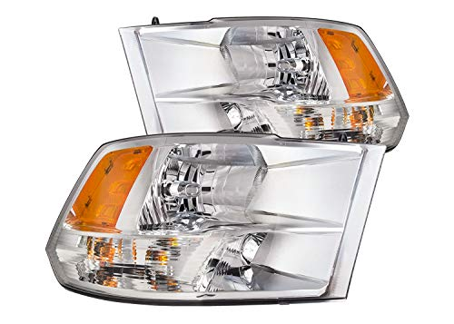 ADCARLIGHTS Compatible with 2009 2010 2011 2012 2013 2014 2015 2016 2017 2018 Dodge Ram 1500 2500 3500 Pickup Headlights Chrome Housing Amber Reflector Driver and Passenger Side