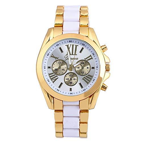 Reloj Unisex de Dos Tonos de Negocios de Lujo Reloj de Pulsera de aleación Retro Vintage para Hombres y Mujeres con Tres subesferas Correa de Acero Inoxidable