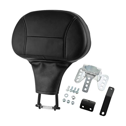 INNOGLOW Motorcycle Driver Rider Backrest Adjustable Pad PU Leather Plug-In Back Rest Mounting Kit for Harley HD Touring Ultra Classic FLHTC 2009-2015
